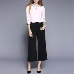 Rosesong - Set: Contrast Trim 3/4 Sleeve Top + Plain Culottes