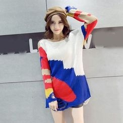 Bloombloom - Ripped Color Block Sweater