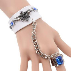 Trend Cool - Jeweled Leather Bracelet with Connected Ring