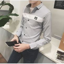 Bestrooy - Two-Tone Long-Sleeve Shirt