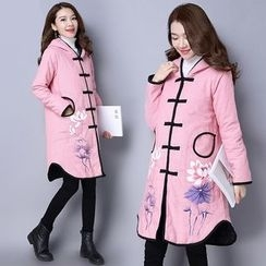 Diosa - Floral Print Hooded Long Padded Coat