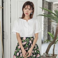 ERANZI - Puff-Sleeve Cotton Blouse