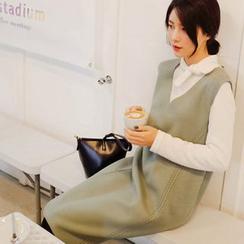 mimi&didi - Sleeveless Stitch-Trim Wool Blend Midi Dress