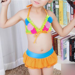 Charmaine - Kids Colour Block Halter Bikini
