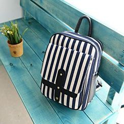 Bibiba - Striped Canvas Backpack