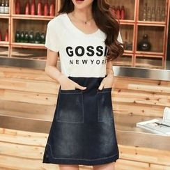 Cobogarden - Letter Denim Panel Short-Sleeve Dress