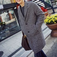 Bay Go Mall - Woolen Plaid Long Coat