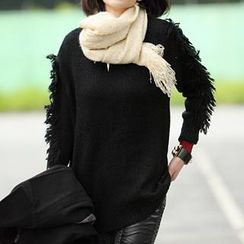 59 Seconds - Fringe Sleeve Sweater