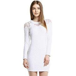 O.SA - Long-Sleeve Mesh-Panel Jacquard Dress