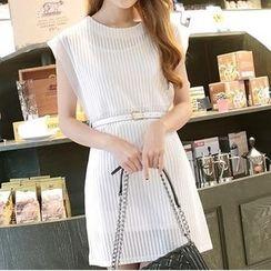 Eva Fashion - Set: Sleeveless Mesh Panel Striped Dress + Slipdress