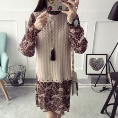 Qimi - Set: Patterned Long-Sleeve Dress + Cable-Knit Vest