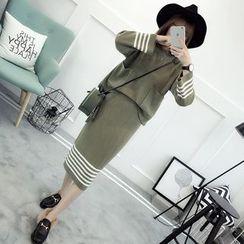 TIMI - Set: Striped Sweater + Midi Skirt