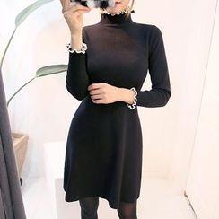 DABAGIRL - Mock-Neck Knit A-Line Mini Dress