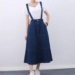 Tangi - Suspender Denim Skirt