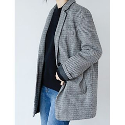 FROMBEGINNING - Single-Breasted Wool Blend Houndstooth Blazer