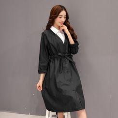 Romantica - Set: Tie-Waist Buttoned Coat + Sleeveless Dress