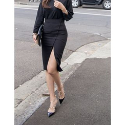 GUMZZI - Slit-Side Midi Skirt