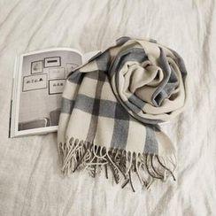 NANING9 - Fringed Knit Check Scarf