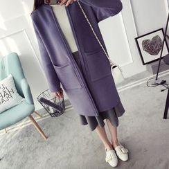 Qimi - Open Front Long Cardigan