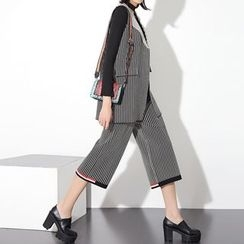 Ultra Modern - Set: Striped Notch Lapel Long Vest + Cropped Wide Leg Pants