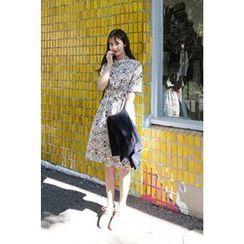 CHERRYKOKO - Mandarin-Collar Pattern Shirtdress with Sash