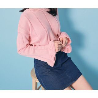 HOTPING - Bell-Sleeve Ribbed Knit Top