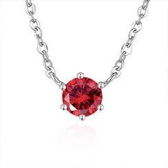 MaBelle - 925純銀紅色半寶石項鍊 16吋