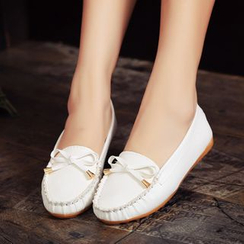 Moonlit Valley - Faux-Leather Bow-Accent Flats