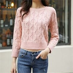 ERANZI - Cropped Cable-Knit Top