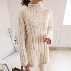 JOAMOM - Mock-Neck Cable-Knit Top