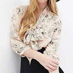Richcoco - Tie-Front Floral Chiffon Shirt