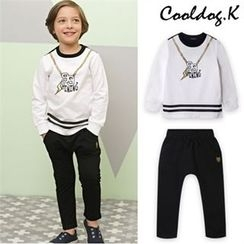 WALTON kids - Boys Set: Contrast-Trim Lettering T-Shirt + Sweatpants