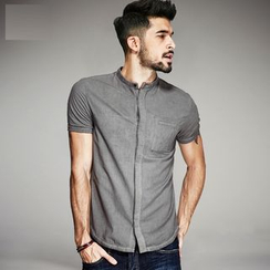 Quincy King - Stand-Collar Short-Sleeved Shirt