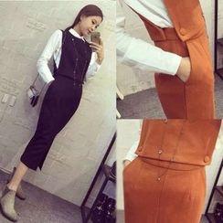 ANGELA - Set: Plain Blouse + Vest + Midi Skirt