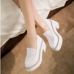 Gizmal Boots - Heeled Platform Slip-Ons