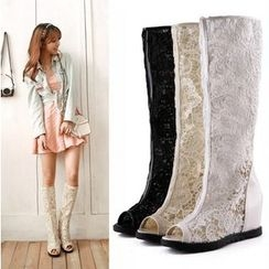 Shoes Galore - Lace Hidden Wedge Tall Boots