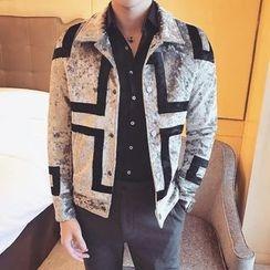 Orizzon - Cross Print Velvet Jacket