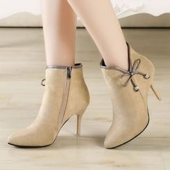 Yoflap - Bow Accent High Heel Ankle Boots