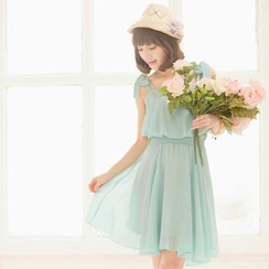 Tokyo Fashion - Tie-Shoulder Layered Chiffon Dress