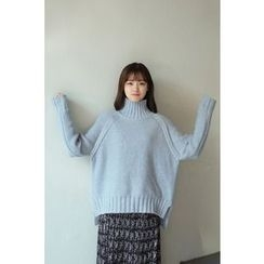 CHERRYKOKO - Mock-Neck Dip-Back Sweater