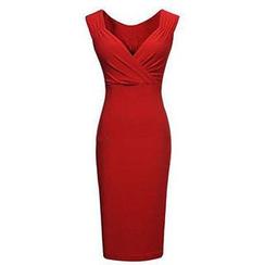 米兰阁 - 低胸背心修身连衣裙