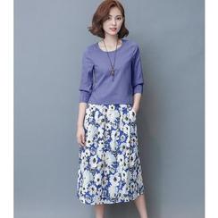 Daybreak - Set: Plain 3/4-Sleeve Top + Floral Print Midi Skirt