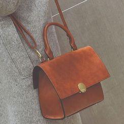 Clair Fashion - 復古包蓋公文包單肩側背包
