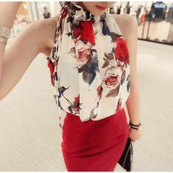 Gl.bY - Floral Print Halter Chiffon Top