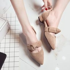 Charming Kicks - Knot Pointed Chunky Heel Sandals