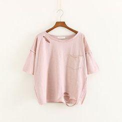 Mushi - Distressed Short-Sleeve Crewneck T-Shirt