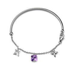 MBLife.com - Left Right Accessory - 925 Sterling Silver Amethyst Clover Cross Bangle Bracelet (55mm), Women Girl Jewelry in Gift Box