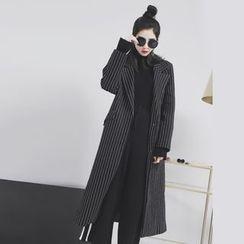 Sonne - 条纹加厚呢料西装大衣
