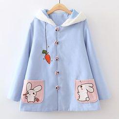 ninna nanna - 刺繡小兔連帽大衣