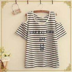 Fairyland - Short-Sleeve Cutout Striped Print T-Shirt
